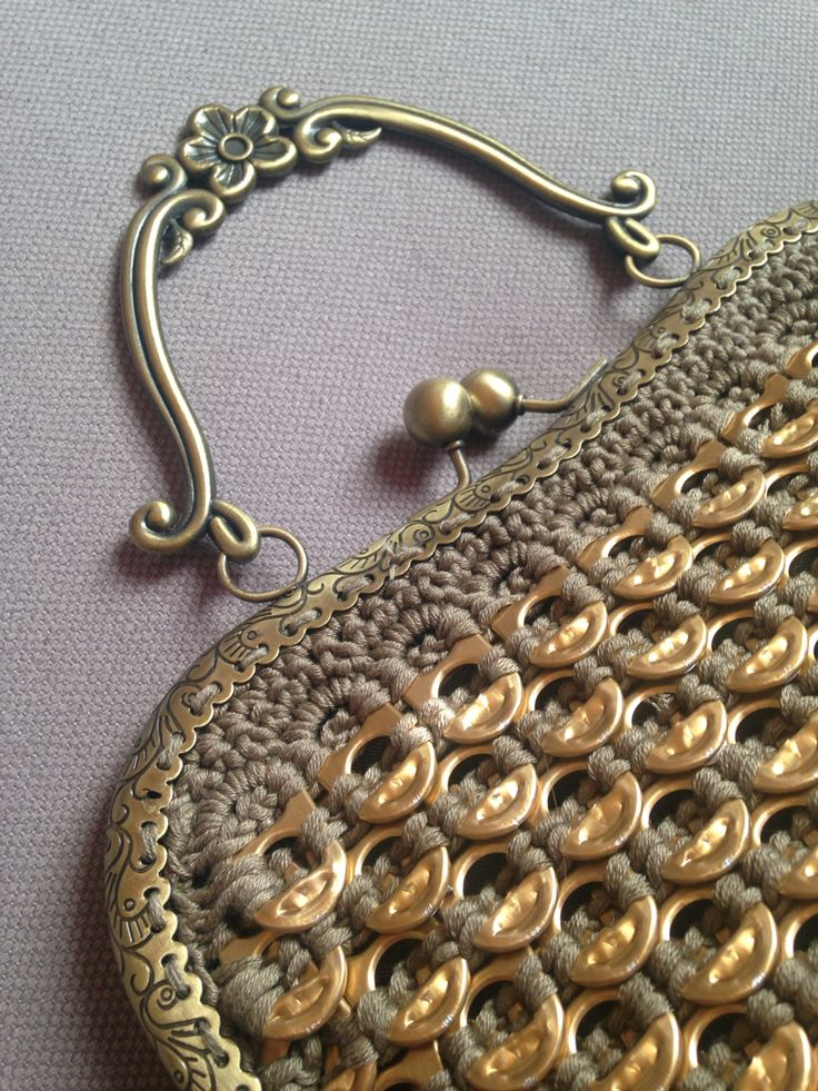 Golden crocheted soda tab purse