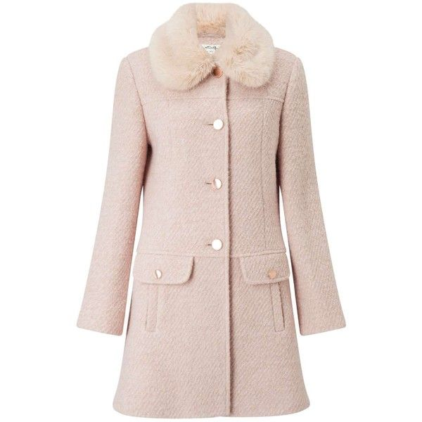 Miss Selfridge Blush Faux Fur Collar Coat found on Polyvore featuring outerwear, coats, powder blush, pink coat, miss selfridge, faux fur collar coats, miss selfridge coats and single-breasted trench coats