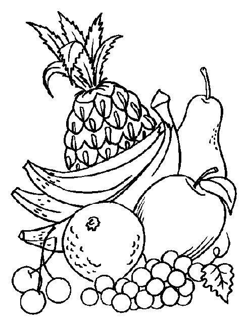 Раскраска: овощи и фрукты для детей | Раскраски, Раскраски ...