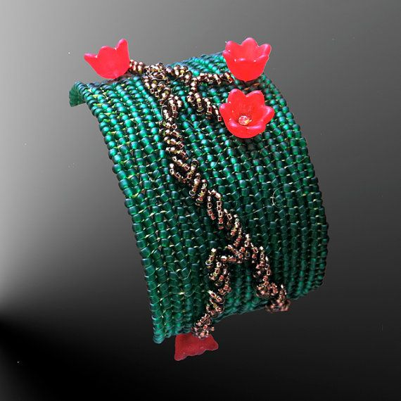 Apple flower embroidered set by SpiralDesignJewelry on Etsy, $58.00