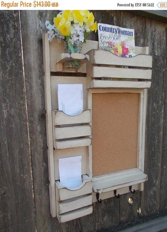 ON SALE Message Center /Mail Organizer/Kitchen Decor/Office Decor /Magazine Holder/Family Message Board