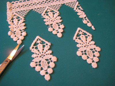 diy lace earrings.  i'm thinking of using MUCH smaller lace, because I can't wear such large earrings.