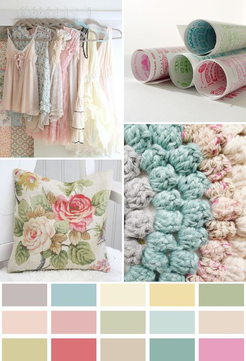 shabby chic pastel color palette |