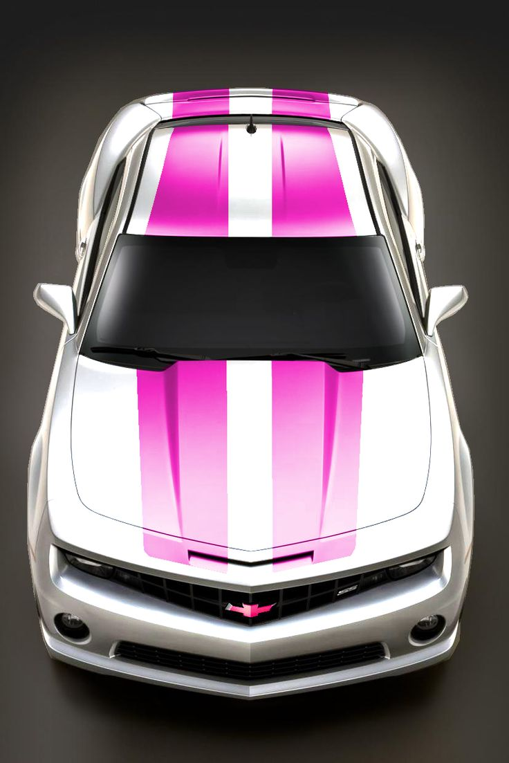 Pink camaro with white racing stripes this is really pretty any lady will fall for