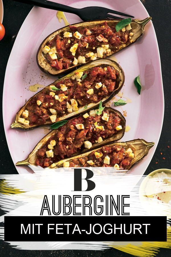 Gefüllte Aubergine mit Feta-Joghurt | Rezept | Mediterrane Küche ...