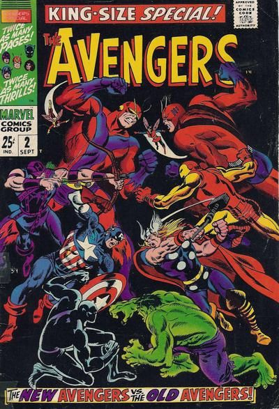 Avengers Annual #2. The new Avengers vs the original Avengers. Cover by John Buscema.  #Avengers #JohnBuscema
