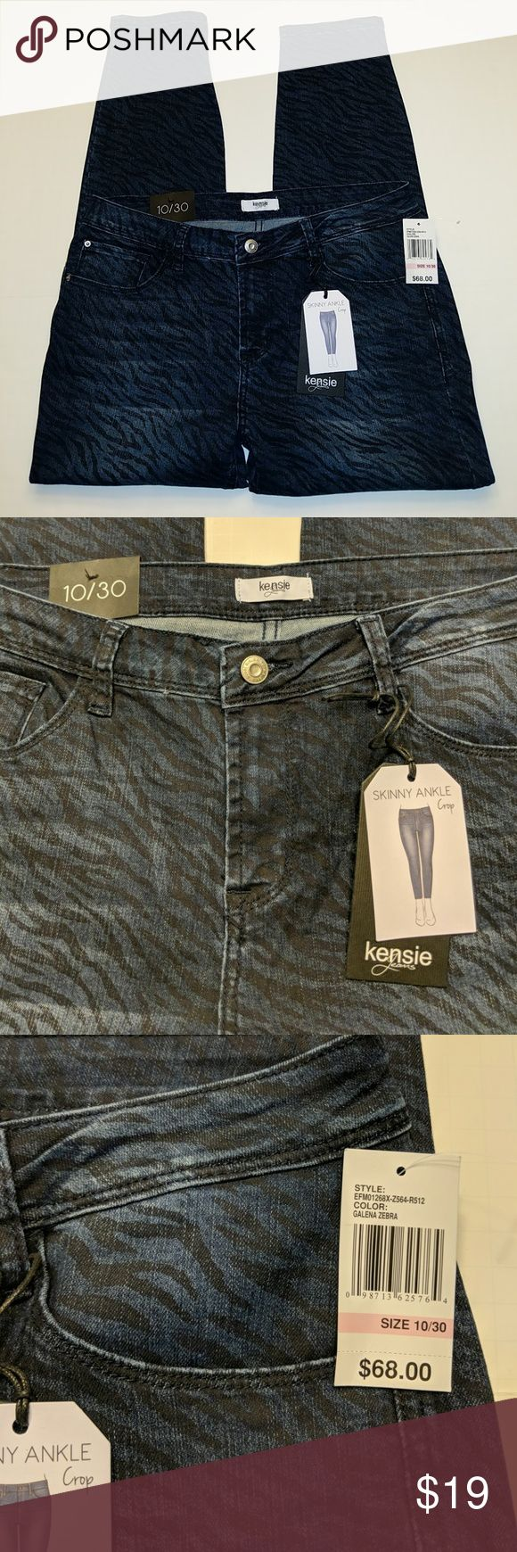 Kensie jeans animal print skinny ankle crop New with tags Kensie jeans size 10 30 skinny ankle crop blue with a black Print animal print color is called Galena zebra. 54% cotton 23% polyester 22% rayon 1% spandex. These are very stretchy. kenzie Jeans Ankle & Cropped