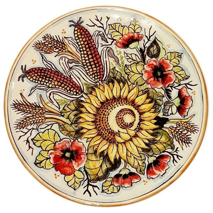 CERAMICHE D'ARTE PARRINI - Italian Ceramic Art Pottery Dish Plate Flat Sunflower Hand Painted Made in ITALY Tuscan. Ceramic Plate to hang on the wall. Decorations:Corn poppies and sunflowers on a white background, border antique orange. Net weight Kg.0,700, Dimensions: 10,29 inch x 10,29 inch--By purchasing directly from the manufacturer of Tuscan craft, you can ask if you want, any other customization, or you can buy now so as you see in the picture and you will be sent the day after the...