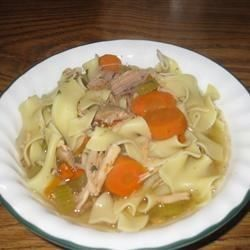 A simple, delicious turkey noodle soup made with drumsticks cooks for a long time for maximum flavor. The noodles are cooked separately and added to the bowls at the end.