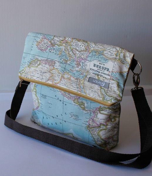 Schulter-Tasche - Rucksack Weltkarte Big von LoLahn Handmade - Taschen, Rucksäcke, Schlauchschal, Hüte und Mützen. auf DaWanda.com
