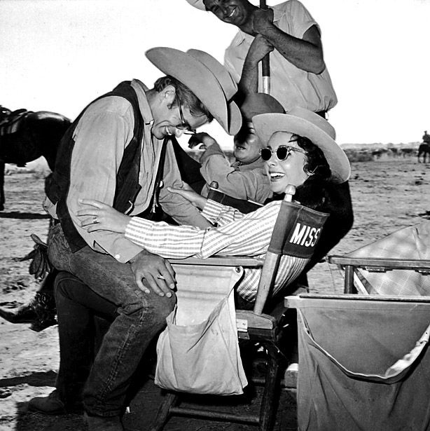 "Elizabeth Taylor and James Dean during a break on the movie set of ""Giant""  1958."