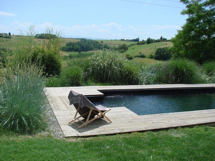 Piscine avec liner noir, effet piscine naturelle  Swimming pool with black liner, natural swimming pool