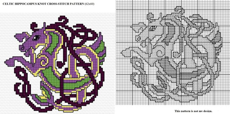 Celtic Hippocampus Knot X-stitch by Astraan.deviantart.com on @deviantART