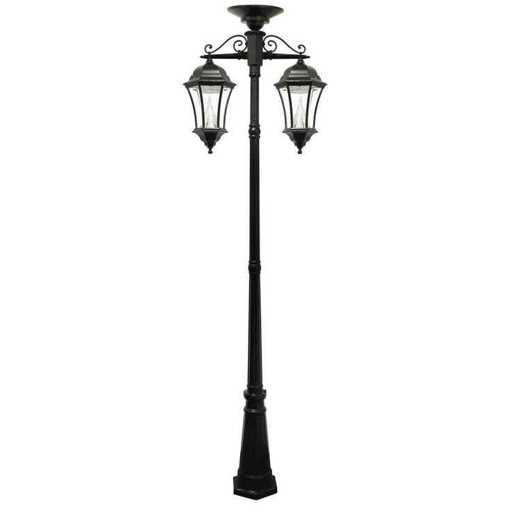 Gama Sonic Victorian Solar Lamp Post Double Downward-Hanging LED Lamps - 94C02