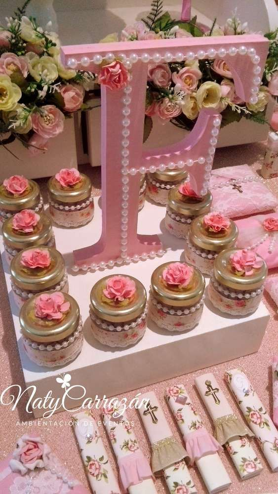 Pretty shabby chic favors at a pink baptism party! See more party planning ideas at CatchMyParty.com!