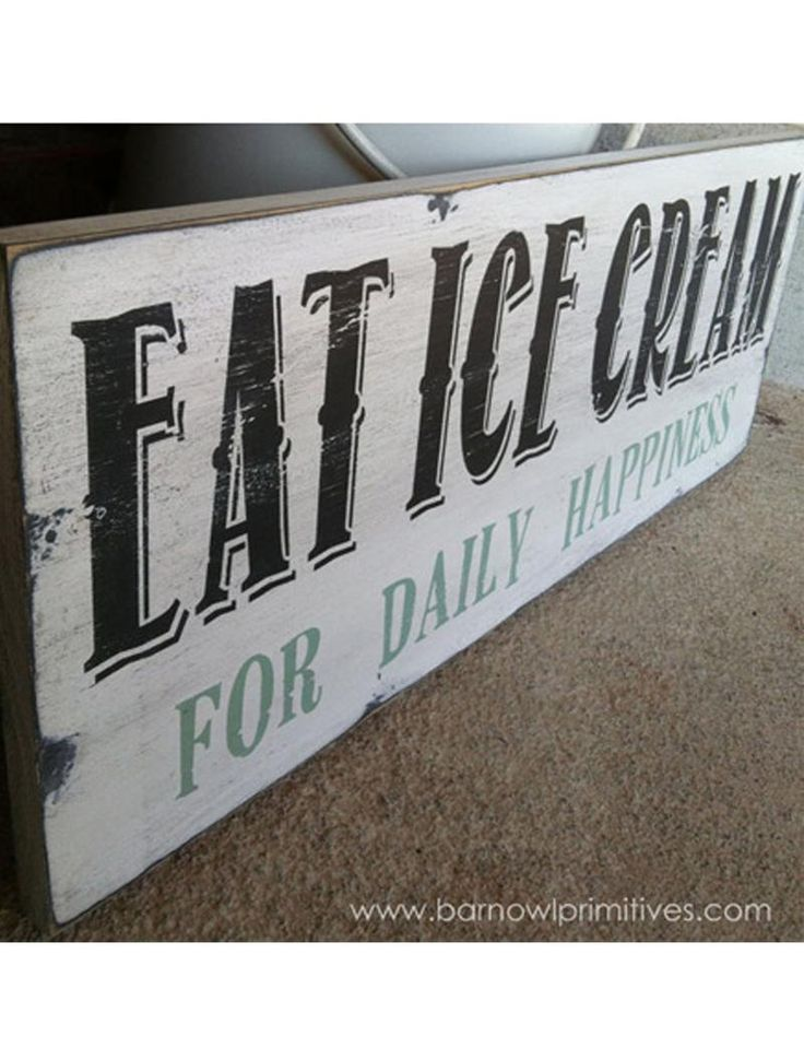 eat ice cream for daily happiness, sign, - Barn Owl Primitives, vintage wood signs, typography decor,