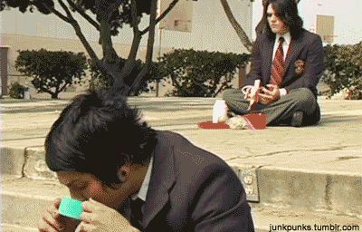 Gerard's just innocently eating a banana in the background...