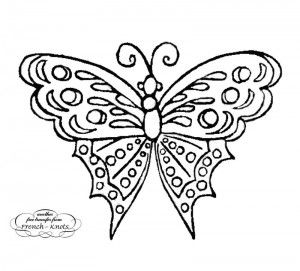 antique butterfly embroidery transfer pattern