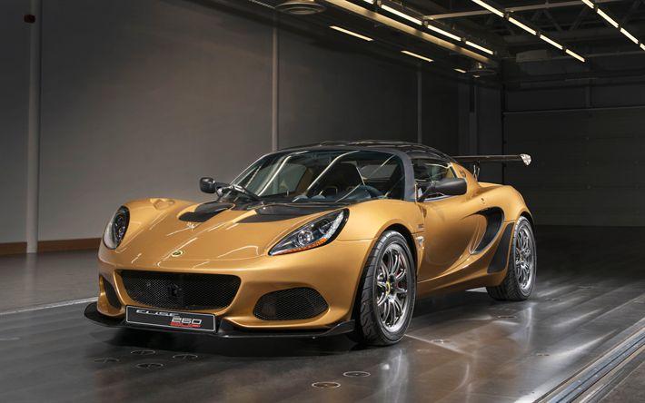 Lotus Elise Cup 260, 2018, 4k, gold sports coupe, tuning, racing car, Lotus