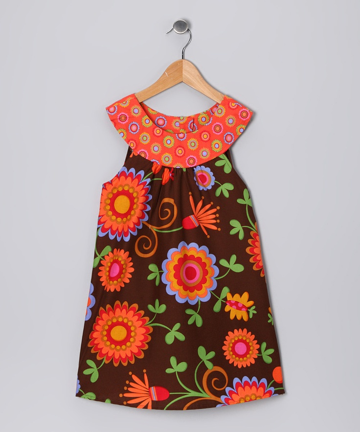 Orange Amp Brown Floral Yoke Dress Toddler Amp Girls Brown