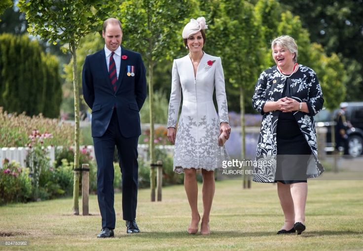Britain's Prince William, Duke of Cambridge and his wife Kate, the Duchess of Cambridge speak with Commonwealth War Graves Commission Director General Victoria Wallace during a visit to the Commonwealth War Graves Bedford House on the outskirts of Ypres on July 31, 2017, as part of a series of commemorations for the 100th anniversary of the Battle of Passchendaele.The battle of Passchendaele, also called the third battle of Ypres, took place between July 31 and November 6, 1917 in…