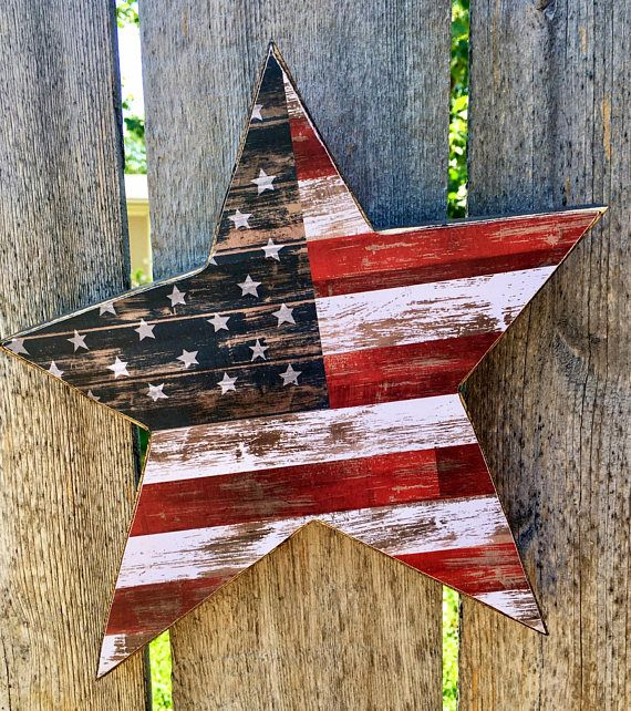 Primitive Wood Star with Rustic American Flag Pape…