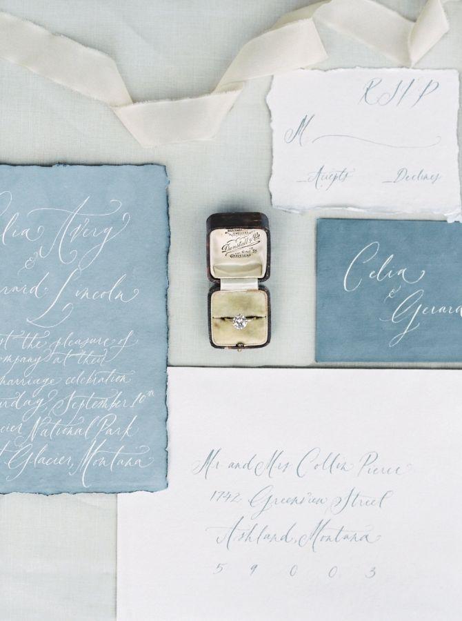 Relaxed slate blue hand-calligraphed wedding invitation: http://www.stylemepretty.com/little-black-book-blog/2016/11/16/elegant-montana-ranch-wedding-shoot/ Photography: Simply Sarah - http://simplysarah.me/