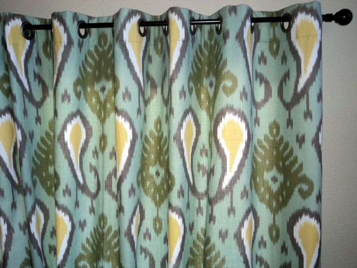 ikat drapes window curtain panels 50 x 96 robert allen blue and green