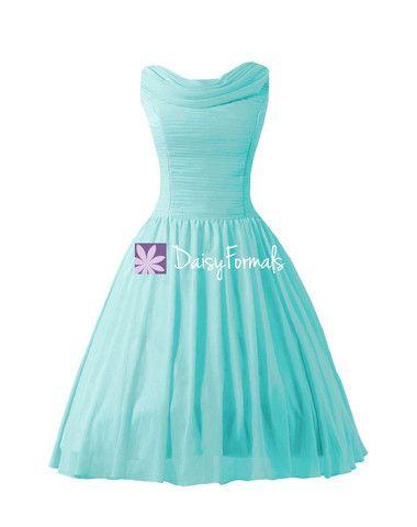 Tea Length Party Dress Vintage Inspired Tiffany Blue Chiffon Bridesmaid Dress Prom Dress (BM1639)