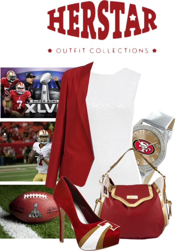 """HERSTAR SUPERBOWL XLVII 49ERS OUTFIT"" by missmelika on Polyvore"
