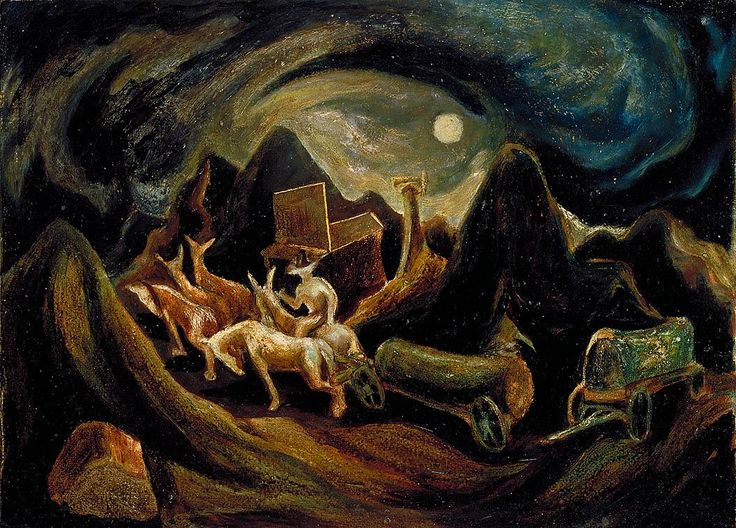 Jackson Pollock - Going West, 1934-1935 (oil on fiberboard)