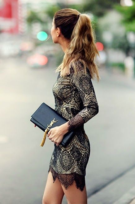 For Love & Lemons inspired Sheer Lace Dress.    Very cute dress, purse, and hairstyle.