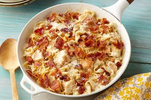 Cheesy Chicken Alfredo Skillet recipe - Cheesy Alfredo meets easy chicken skillet dish in this bacon-and-Parmesan-topped crowd-pleaser