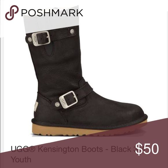 """Girls Ugg boots size 3. Black genuine leather and sheepskin Ugg boots. """"Kensington"""" style. Good condition, lots of life left in them. Size 3 for girls. UGG Shoes Winter & Rain Boots"""