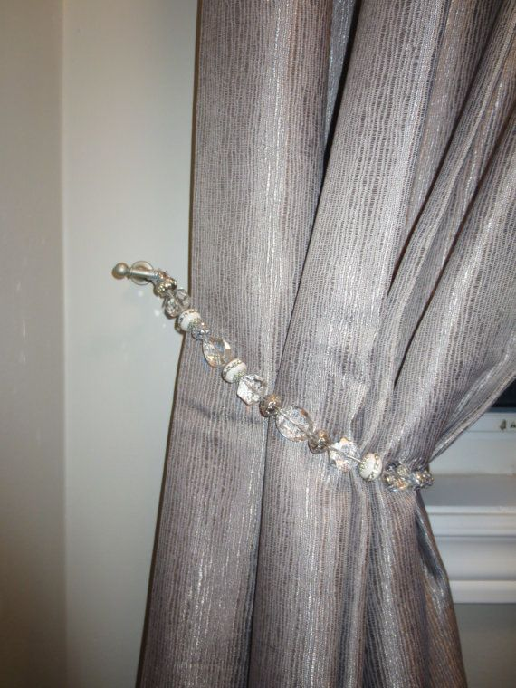 Beaded Drapery Tie Back With Clear Silver White Beads With Silver Wire Glam Up Your Curtains Drapery Tie Backs Custom Drapery Curtains