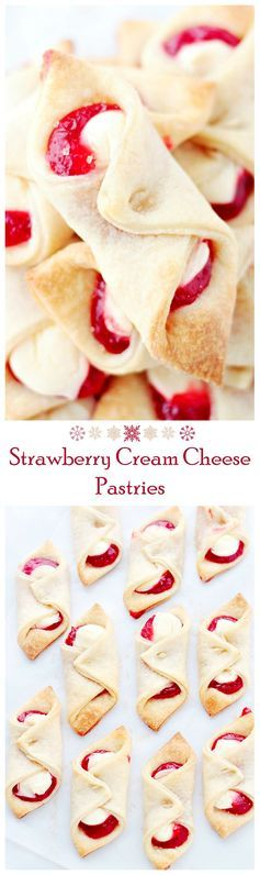 Soft, flaky and delicious pastries filled with a sweet cream cheese mixture and strawberry jam. #recipes