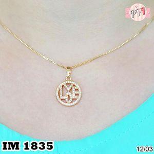 Perhiasan Kalung Emas 18 k Permata Love M 1835