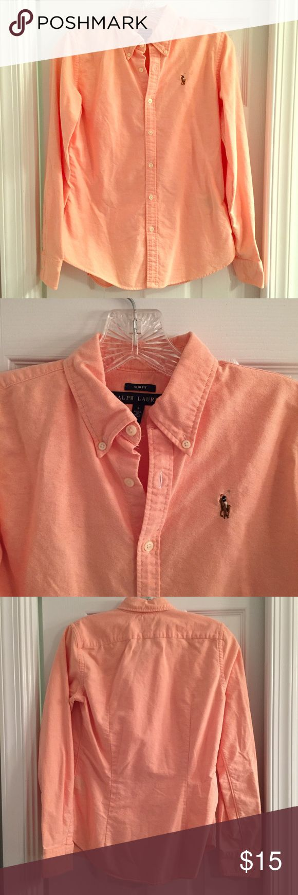 Ralph Lauren Cotton Oxford Slim Fit, Women's 6 Pale orange long-sleeve cotton oxford shirt by Ralph Lauren. Slim-fit size 6. Machine washable. In great condition - no stains or missing buttons. Great for work. Ralph Lauren Tops Button Down Shirts