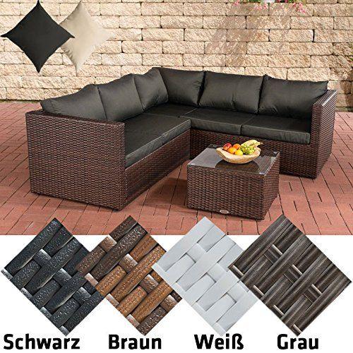 CLP Poly-Rattan Garden Furniture LIBERI, with Aluminium frame, 3 seater sofa   2 seater sofa   coffee table 55 x 55 cm   9 cm thick cushions