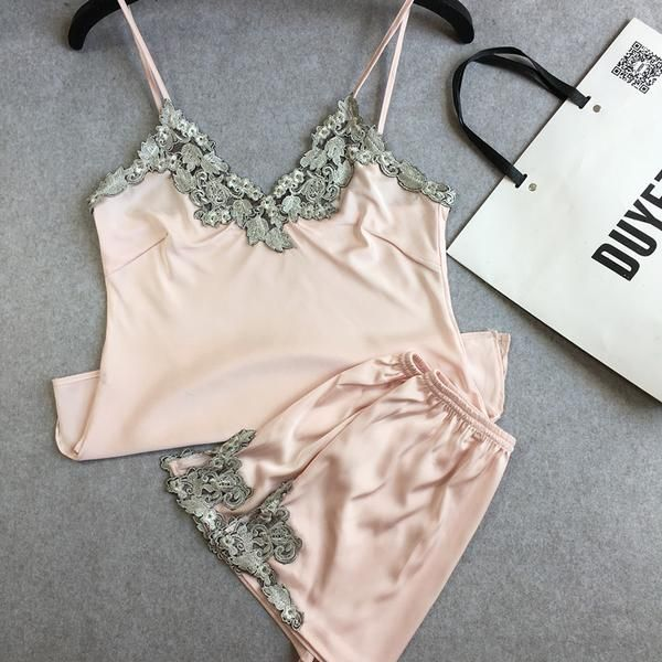 silk satin lace ladies nightwear two-pieces pajamas sets with short pants high quality women's indoor suits soft sleepwear sexy
