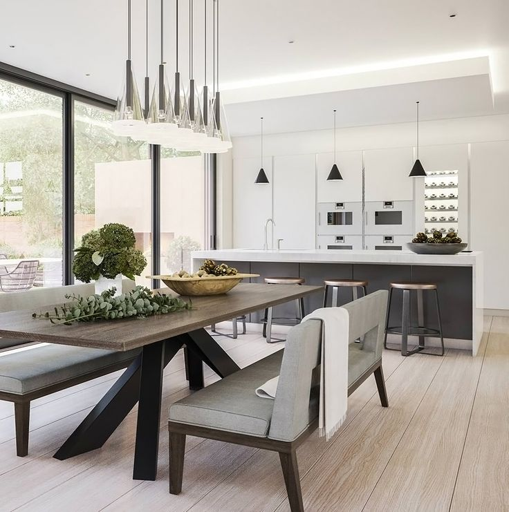 A contemporary kitchen and dining room designed by Bishopswood