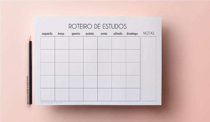 roteiro de estudo, planner 2017, printable, planner minimalista