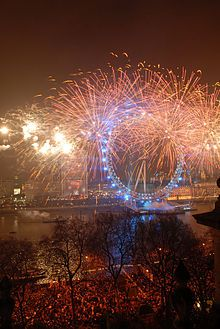Fireworks at the London Eye on New Year's Eve.