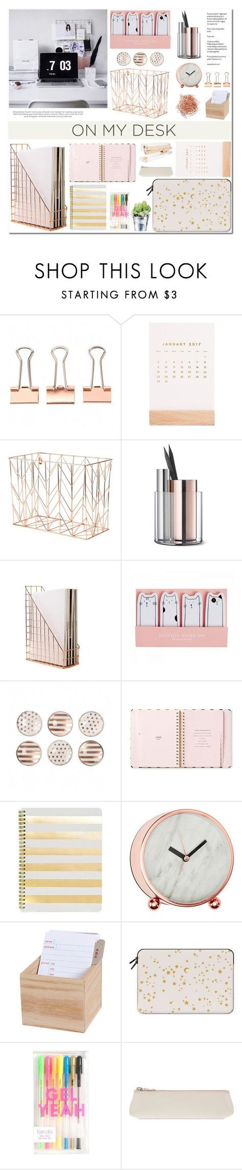 """""""On My Desk"""" by makeupgoddess ❤️ liked on Polyvore featuring interior, interiors, interior design, home, home decor, interior decorating, Thrive, U Brands, Kate Spade and Beyond Object"""