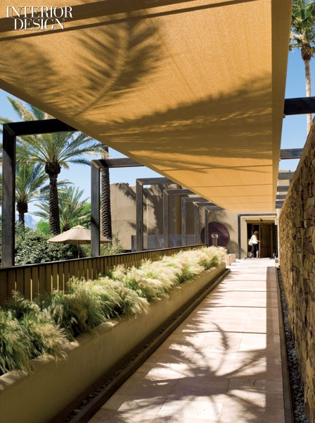 Miraval Arizona Resort& Spa. A steel armature supports the polyethylene canopy over the travertine walkway to the spa entrance.