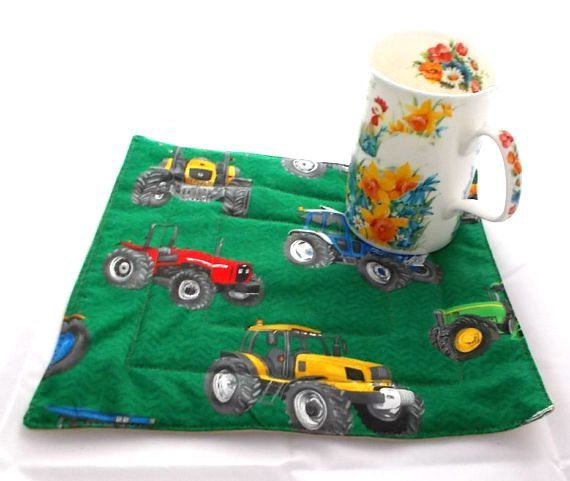 Tractor Mug Rug, Tractors, Quilt Snack Mats, Quilted Mug Rugs, Snack Mat, Candle Trivet, Quilt Mats, Cup Coasters, man's gift, Man Gift Idea - pinned by pin4etsy.com