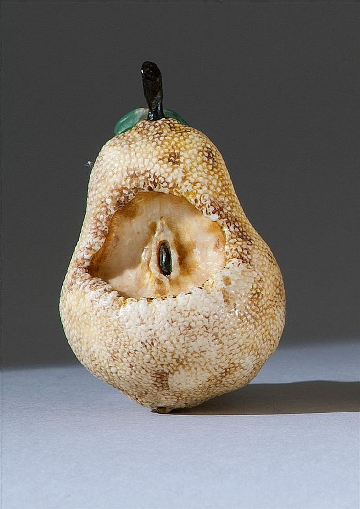 Decayed pear with jade leaf- contempory netsuke