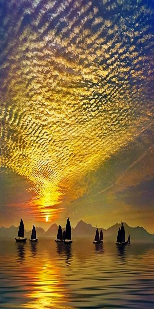 Celestial Ripples and sailing at sunset