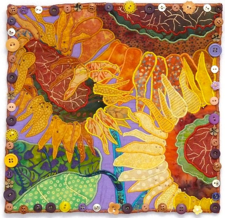 """12"""" x 12"""" art quilt by Nancy Turbitt. Edged with buttons.   How awesome is this!"""