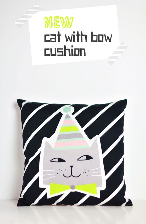 { NEW } cat with bow cushion by PinkNounou